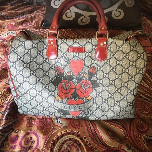43756e88f Gucci Bags | Authentic Boston Tattoo Rose Heart Handbag | Poshmark